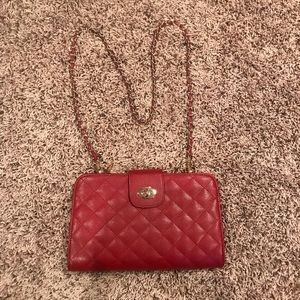 Handbags - Quilted red crossbody gold chain